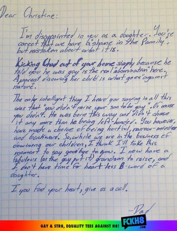 Carta de un abuelo a su hija cuando ella repudia a su propio hijo por ser gay