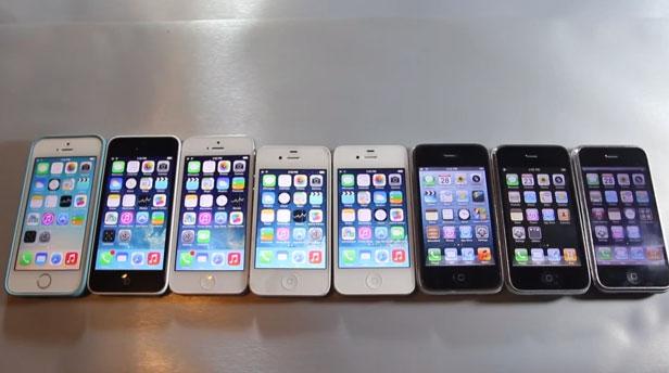 Comparativa de velocidad entre todos los iPhones, desde el 2G hasta el 5S