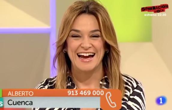 La presentadora Toñi Moreno en apuros en directo