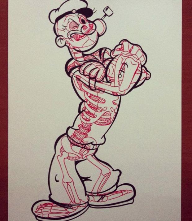 Rayos X: El esqueleto de algunos dibujos famosos