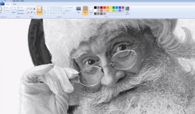 Santa Claus dibujado con las herramientas de Microsoft Paint