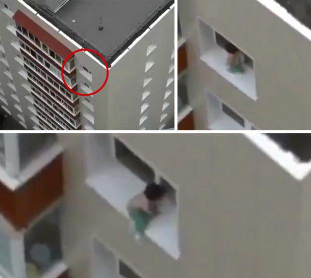 Graban a un bebé caminando por el borde de la ventana del último piso de un edificio