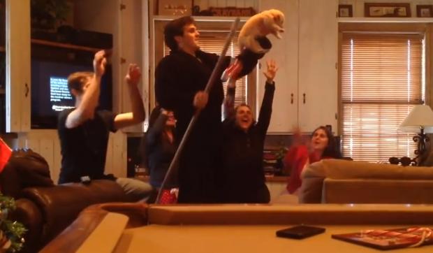 Los hijos les presentan un cachorro a sus padres al estilo Rey León