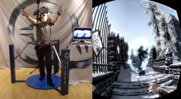 Realidad virtual completa: Skyrim + Cyberith Virtualizer + Oculus Rift + Wii Mote
