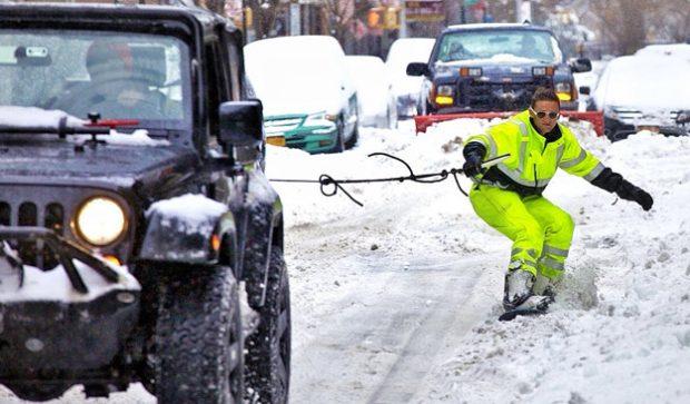 Snowboarding en New York City