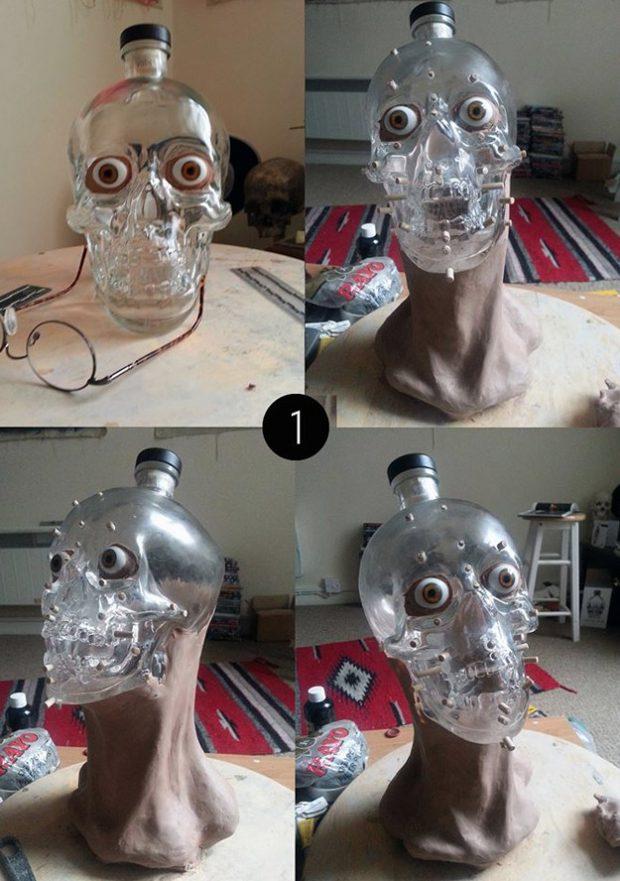 Un artista forense reconstruye la cara de una botella de vodka