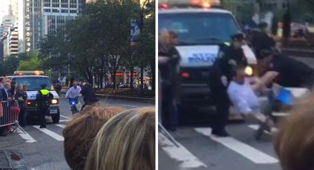 Esto es lo que ocurre cuando intentas cruzar la comitiva de Obama con la moto