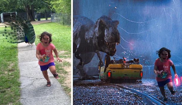 La foto de una niña aterrorizada escapando de un pavo real se convierte en meme