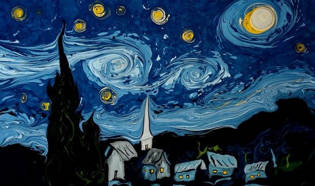 """Creación del cuadro """"La noche estrellada"""" de Van Gogh con la técnica del papel marmoleado"""