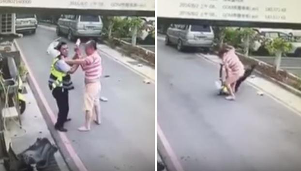 Un cocinero ataca con un cuchillo de carnicero a un policía que estaba poniendo multas (Vídeo)