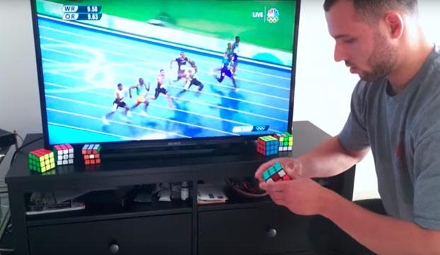Consigue resolver un cubo de Rubik antes de que Usain Bolt termine los 100 metros lisos
