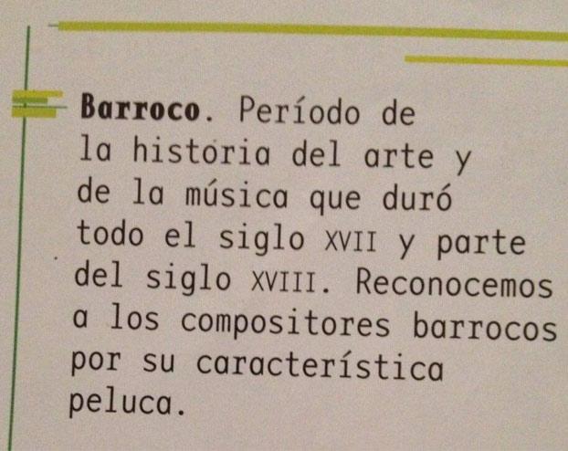 Explicación de lo que es el Barroco en un libro de texto de 6º de primaria (11 años)