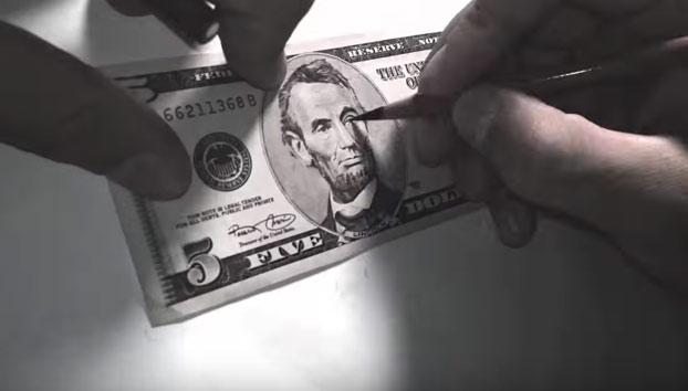 Convierte un billete de 5 dólares con la cara de Bill Murray
