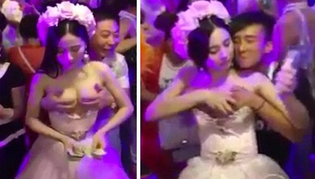 Una novia se deja manosear por los invitados para recaudar dinero para su luna de miel
