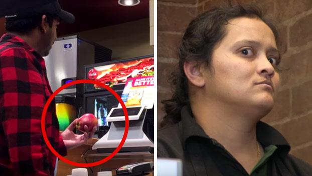 Deja en shock a los empleados al pagar con una manzana