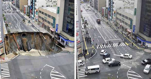 Una cuadrilla de operarios arreglan el enorme agujero de Fukuoka en 48 horas