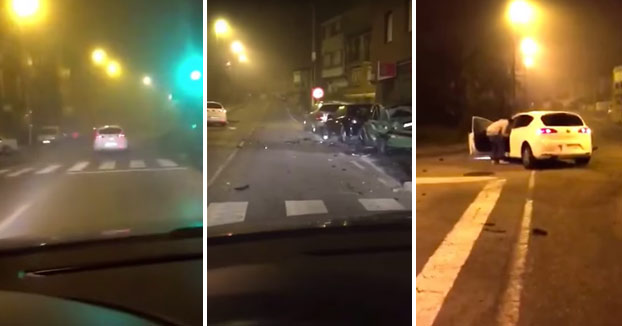 Sigue a un conductor borracho y graba como choca contra tres coches en Santander (Vídeo)