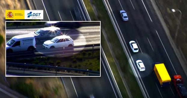 La carretera no es un circuito. Vídeo grabado por la DGT desde un helicóptero