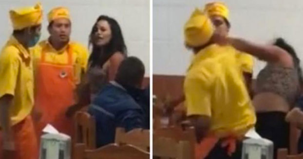 El empleado de una taquería agrede brutalmente a una clienta dentro del local (Vídeo)