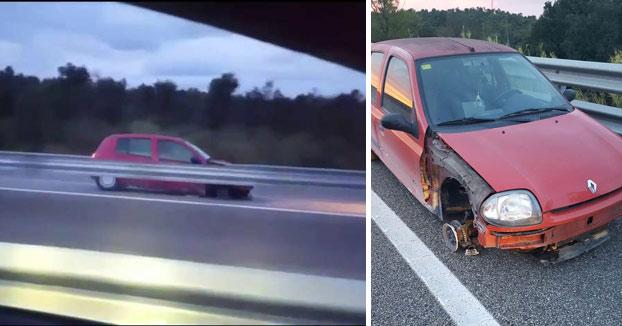 Detenida por conducir ebria, en dirección contraria y sin una rueda por la AP-7 (Vídeo)