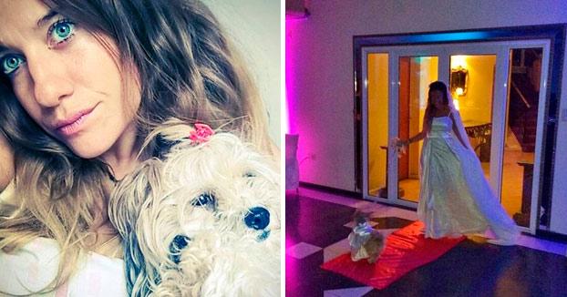 Su novio la dejó plantada antes de la boda y ella decide casarse con su perra