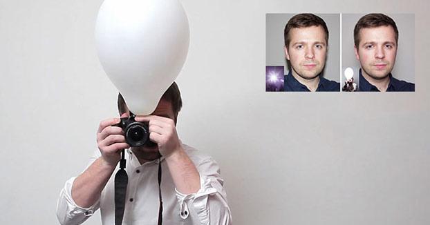 Puedes hacer mejores fotos con flash integrado usando un globo, la diferencia es sorprendente