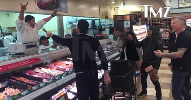 Vas por el supermercado y escuchas de fondo Enter Sandman de Metallica. Te acercas un poco y SORPRESA!