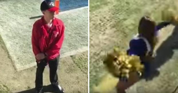 Un miembro de la seguridad del campo se la casca a pocos metros de las cheerleaders
