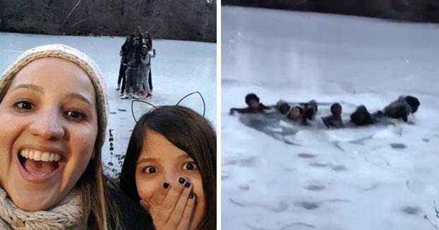 Un grupo de adolescentes cae en un lago congelado de Central Park al intentar hacerse un selfie (Vídeo)