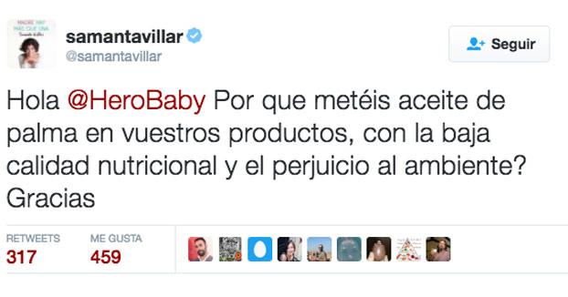Samanta Villar le recrimina a Hero Baby que utilice aceite de palma y la marca le responde lo siguiente...