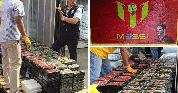 Decomisan más de una tonelada de cocaína con fotos de Messi que iba a ser enviada a Bélgica