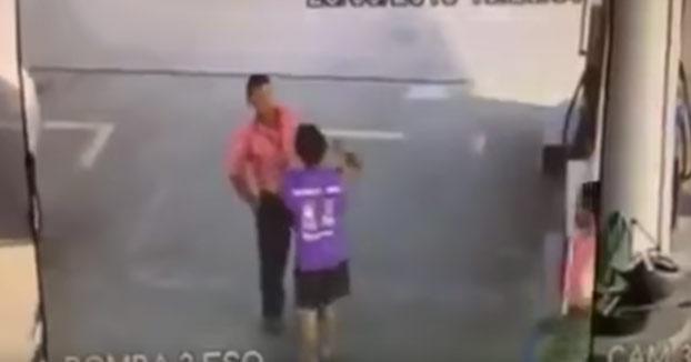 Este chaval elige un mal momento para robar a un empleado de la gasolinera