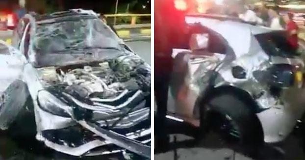 Así es como quedó el Mercedes accidentado en la carrera ilegal en un túnel de Cali, Colombia