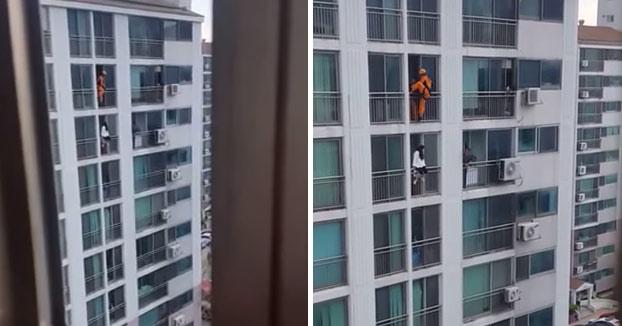 Así salva un bombero a una mujer que se quería suicidar