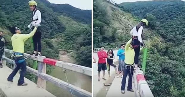 Dramático salto en Bungee de una chica en Bolivia