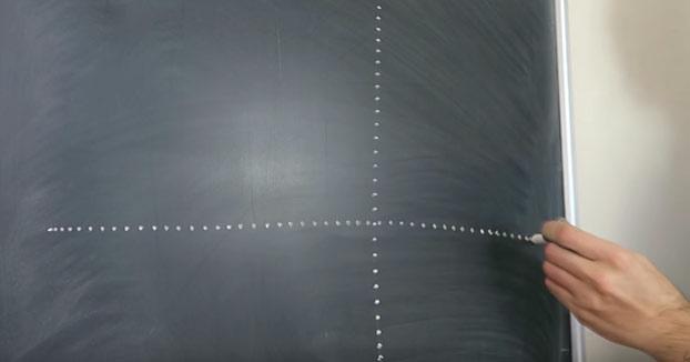 Cómo hacer rápidamente una línea de puntos con una tiza en una pizarra