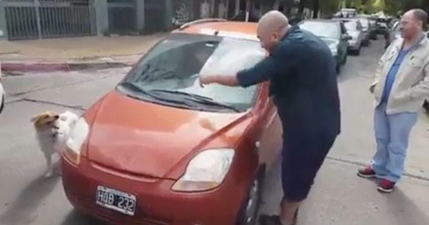 Intenta abandonar a su perro y un hombre la humilla en mitad de la calle