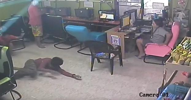 Terror en el cibercafé: una serpiente entra a chatear y cunde el pánico