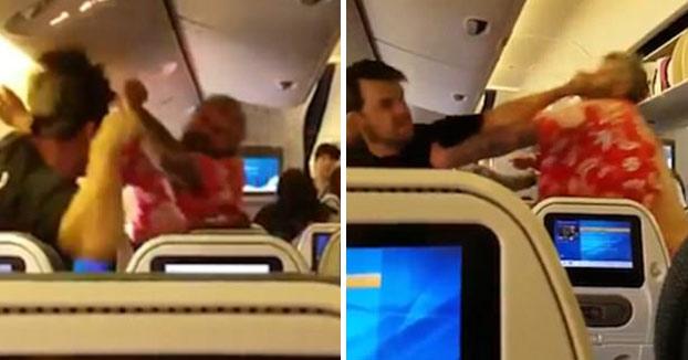 Combate en el avión: Dos caballeros se lían a hostias desde sus asientos
