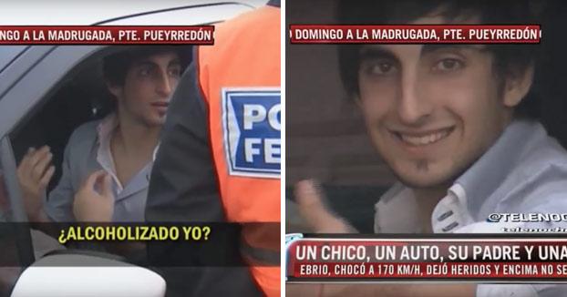Chocó a 170 km/h borracho. Después de la policía llegó la prensa y luego su padre