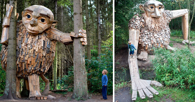 Un artista construye gigantes de madera y los esconde en los bosques de Copenhague