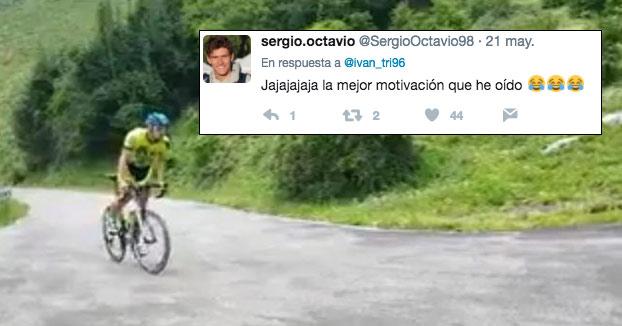 ''Mi madre animándome mientras subía el Angliru en bici''