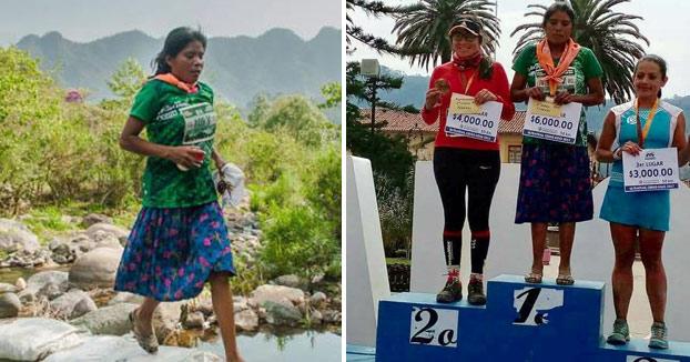 Una mujer gana una maratón en sandalias y falda, sin hidratación y tras caminar dos días para llegar a la carrera