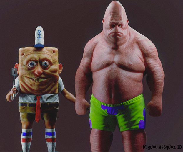 Así es como serían Bob Esponja y Patricio si fuesen de carne y hueso