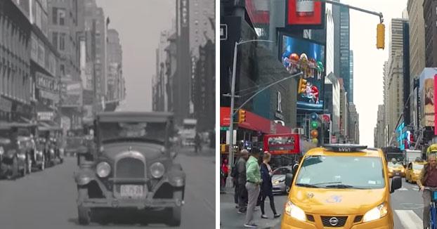 Comparación en vídeo a pantalla partida entre Nueva York en 1930 y 2017