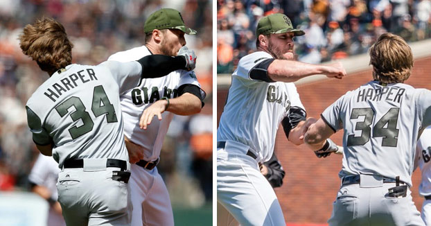Bryce Harper y Hunter Strikland a hostias en pleno partido de béisbol