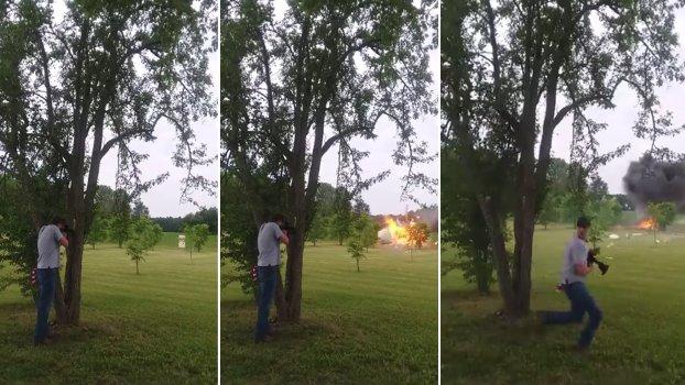 video hombre dispara refrigerador y casi muere