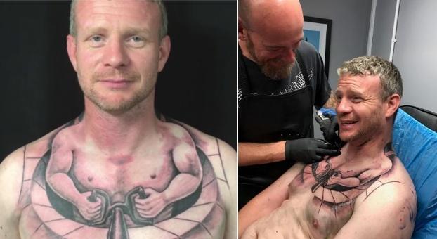 camionero tatuaje hombre diminuto cuello conduce