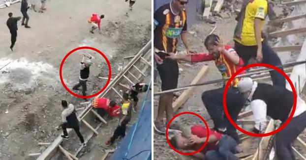Brutal agresión a un hincha del equipo rival: Le lanzan una piedra a la cabeza cuando está siendo golpeado en el suelo