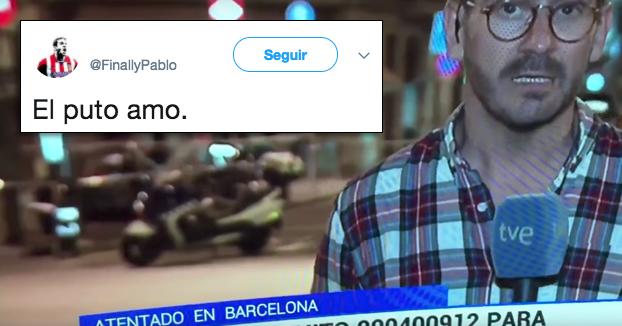 Las redes aplauden a un joven que se cuela en el directo de TVE con esta camiseta por las Ramblas